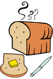 Hot Buttered Bread. Loaf of bread with butter stock illustration