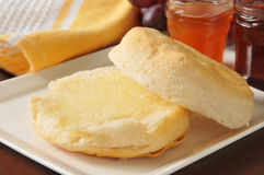 Hot buttermilk biscuit. S with peach and strawberry jams Stock Image