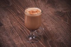 Hot cacao drink in glass Stock Image