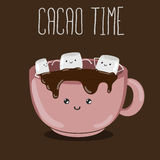 Hot cacao with marshmallows Stock Images
