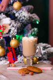 Hot cacao with marshmallows on old table on Christmas background Royalty Free Stock Photography