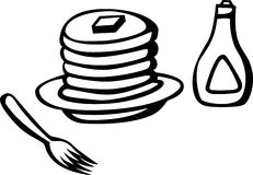 Hot cakes with syrup and fork vector illustration Stock Photo