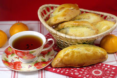 Hot cakes with tea Stock Images
