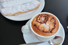 Hot Cappuccino And Cake Stock Photos