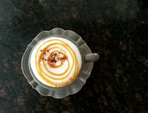 Hot Cappuccino with Caramel Stock Photos