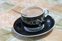 Hot cappuccino cup Stock Photos