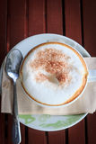 Hot Cappuccino. A cup of Hot Cappuccino top view Royalty Free Stock Images