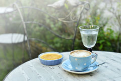 Hot cappuccino and custard with vintage garden background Royalty Free Stock Photo
