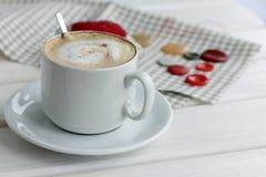 Hot cappuccino excellent working break Stock Photos