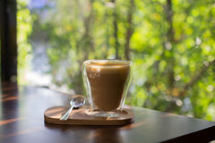 Hot cappuccino is the favorite coffee drink. stock photography