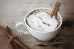 Hot cappuccino with spices cinnamon sticks and star anise. Stock Photography