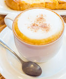 Hot cappuccino. In white cup Stock Image