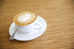 Hot Cappuccino with white cup Royalty Free Stock Photo