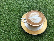 Hot Cappuccino on the yard royalty free stock photography