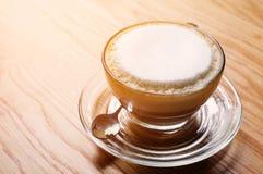 Hot cappucino coffee. Vintage style stock photo