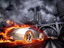 Hot car. Fire car. My own car design Royalty Free Stock Image