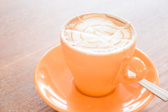 Hot caramel coffee latte cup Stock Photo