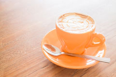 Hot caramel coffee latte cup Royalty Free Stock Images