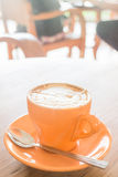 Hot caramel coffee latte cup Royalty Free Stock Photo