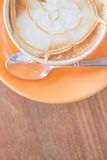 Hot caramel coffee latte cup Royalty Free Stock Photos