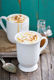 Hot caramel drink with whipped cream Stock Photo