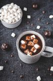 Hot carob drink topped with marshmallows, a caffeine free alternative to chocolate stock photos