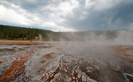 Hot Cascades hot spring in the Lower Geyser Basin in Yellowstone National Park in Wyoming USA Stock Image