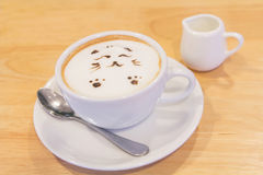Hot cat latte coffee. Hot coffee on the table / Hot cat coffee latte Royalty Free Stock Photo