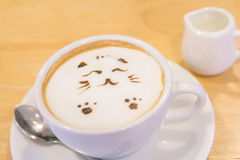 Hot cat latte coffee. Hot coffee on the table / Hot cat coffee latte Stock Photos