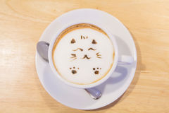 Hot cat latte coffee. Hot coffee on the table / Hot cat coffee latte Stock Image