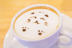 Hot cat latte coffee. Hot coffee on the table / Hot cat coffee latte Stock Photography