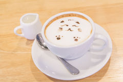 Hot cat latte coffee. Hot coffee on the table / Hot cat coffee latte Stock Images