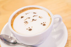 Hot cat latte coffee. Hot coffee on the table / Hot cat coffee latte Royalty Free Stock Photos