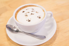 Hot cat latte coffee. Hot coffee on the table / Hot cat coffee latte Royalty Free Stock Photography