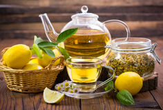 Hot chamomile tea. With lemon Royalty Free Stock Photos