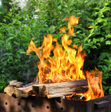 Hot Charcoal Barbecue Grill With Bright Flame Royalty Free Stock Photos