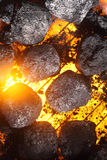 Hot charcoal and glowing coals on a barbecue Stock Image