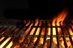 Hot Charcoal Grill With Flames Of Fire royalty free stock photo