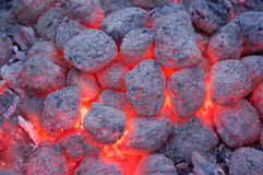 Hot charcoal. Red hot charcoal for BBQ, United States Stock Photos