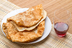Hot cheburek and wine Royalty Free Stock Photography