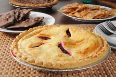 Hot cherry pie. A hot cherry pie with chocolate and peanut brittle royalty free stock photo