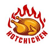 Hot chicken fire label Vector illustration. Hot chicken fire logo icon, labels and design elements. Vector illustration Stock Photos