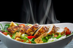 Hot chicken and fresh vegetables Royalty Free Stock Photos