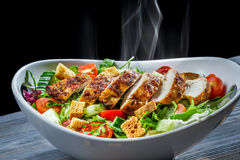 Hot chicken and fresh vegetables in healthy salad Stock Photography