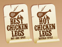Hot chicken legs stickers. Royalty Free Stock Photography