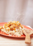 Hot chicken meal with rice Stock Image