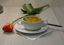 Hot chicken potato soup Stock Photo
