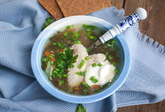 Hot chicken and sorrel soup. With herbs and sour cream Royalty Free Stock Image
