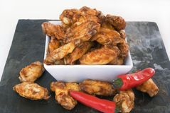 Hot chicken wings royalty free stock photography