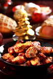 Hot chicken wings. For Christmas royalty free stock photos
